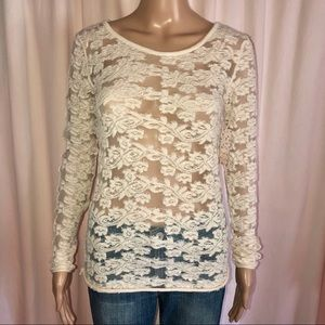 Free People floral lace blouse